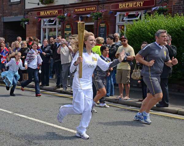 The Olympic torch passes the pub, Friday 29th June 2012!